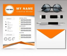 Resume template vector on orange background