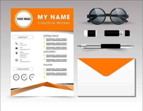 Resume template vector on orange background