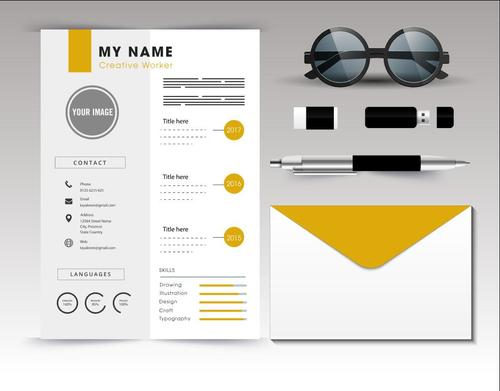 Resume template vector on white background
