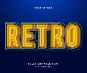 Retro 3d font editable text style effect vector