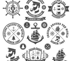 Retro captain and ship label vector