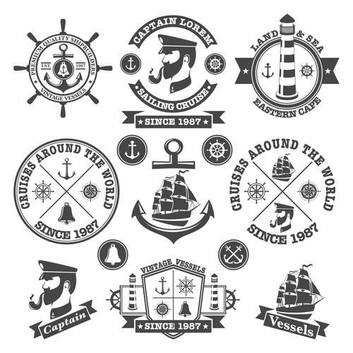Retro captain and ship label vector