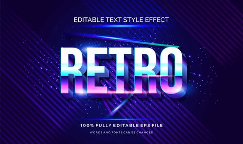 Retro editable font 3d vector