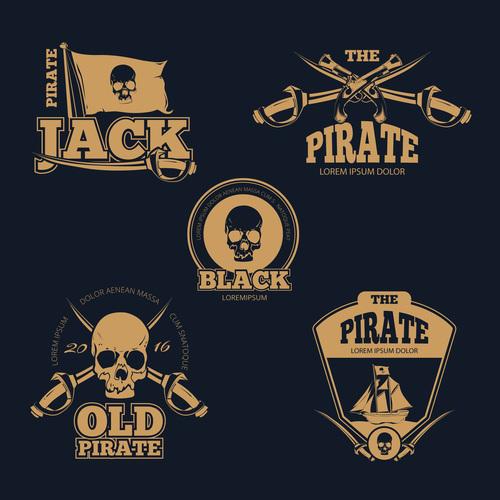 Retro piratical color logo labels and badges vector