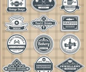 Retro various profession labels vector