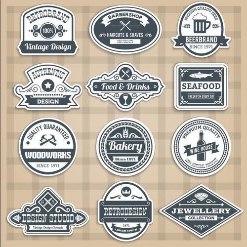 Retro various profession labels vector
