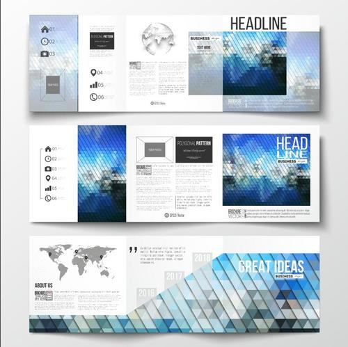Rhombus background business brochure template vector