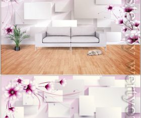 Romantic 3d stereo flowers geometric lines flowers tv background wall vector