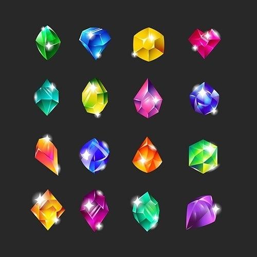 Royal multicolor gems flat icon set for web design