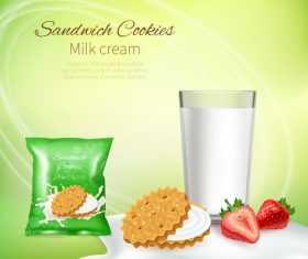 Sandwich cookie milk cream advertising design vector