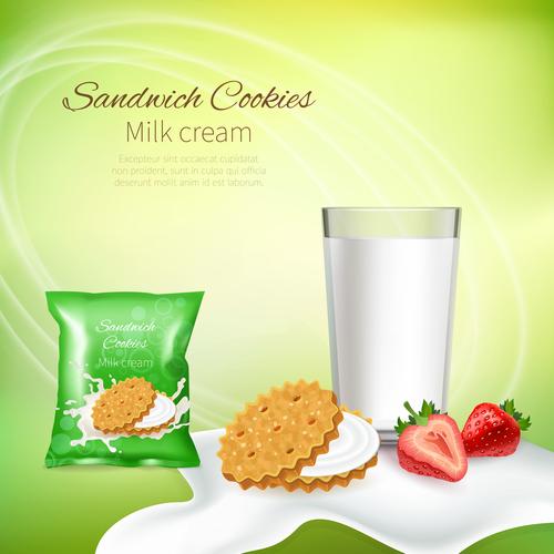 Sandwich cookie milk cream advertising design vector