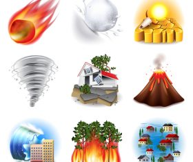 Scary natural disaster icon vector