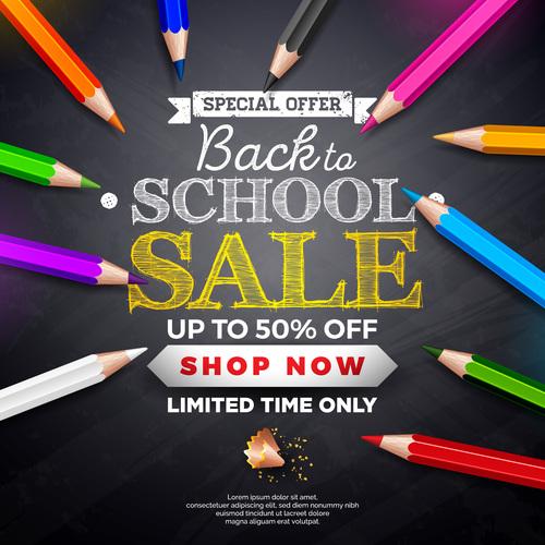 School student equipment sales vector