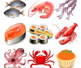 Seafood icons realistic vector
