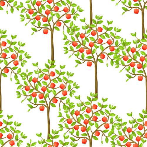 Seamless fruit tree background illustration vector