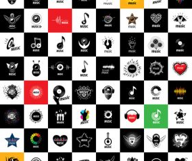 Set black and white music icons collection vector