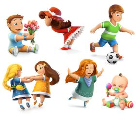 Set of childrens elements vector icons