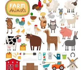 Set of farm animals agricultural accessories vector