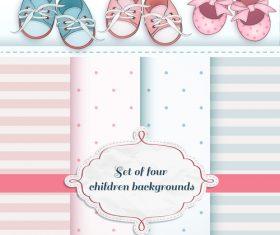 Set of four children backgrounds vector