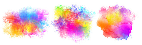 Set of three watercolor splatter stains design vector