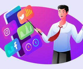 Share social media knowledge illustrator vector