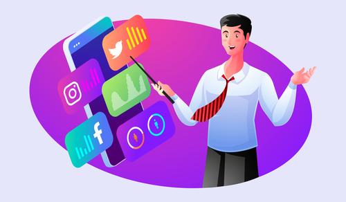 Share social media knowledge illustrator vector