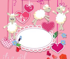Sheep pink birthday card vector