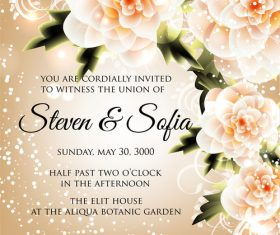 Shiny beautiful wedding invitation card vector