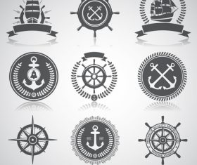 Ship rudder marine element label vector