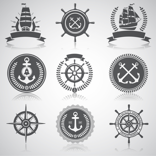 Ship rudder marine element label vector