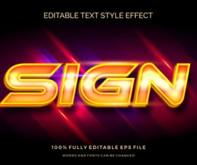 Sign editable font 3d vector
