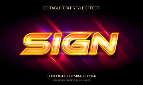 Sign editable font 3d vector