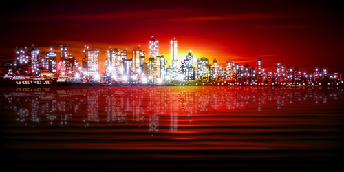 Silhouette of city vector illustration with red sunset background