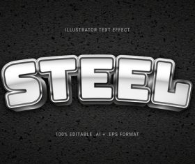 Silver 3d font editable text style effect vector