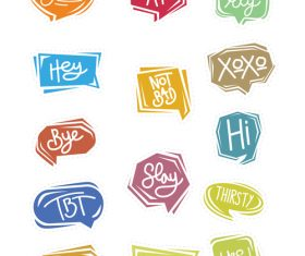 Simple cartoon chat bubble sticker vector