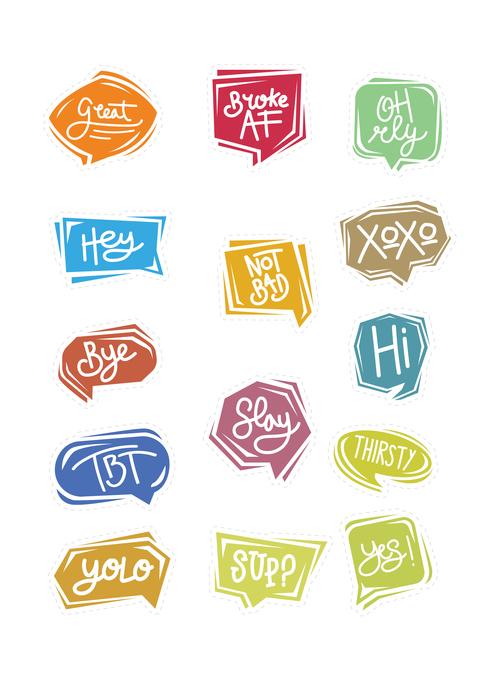Simple cartoon chat bubble sticker vector