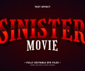 Sinister movie 3d font editable text style effect vector