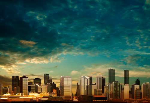 Sky background with panorama of vancouver vector