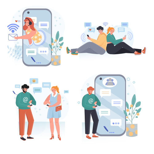Social network concept scenes vector