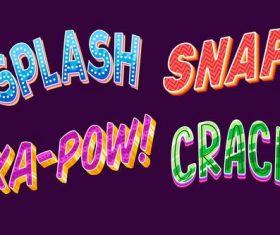Splash catchwords lettering vector