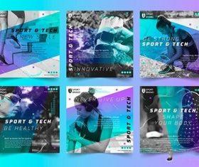 Sport and tech instagram posts vector