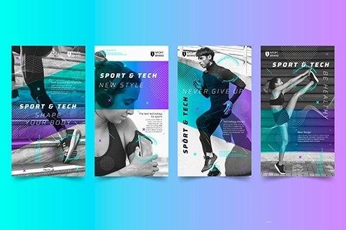 Sport tech instagram stories vector