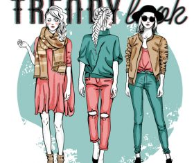 Spring and Autumn Fashion Style Illustration Vector