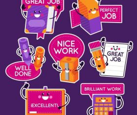 Stationery stickers cartoon collection vector