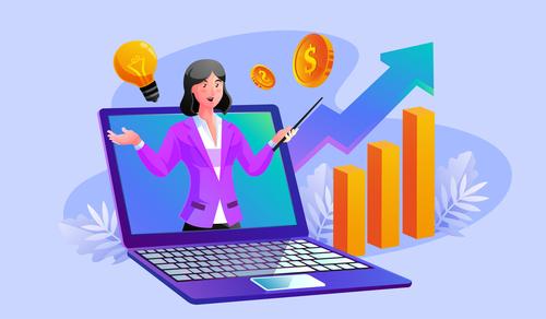 Stock market analysis illustration vector