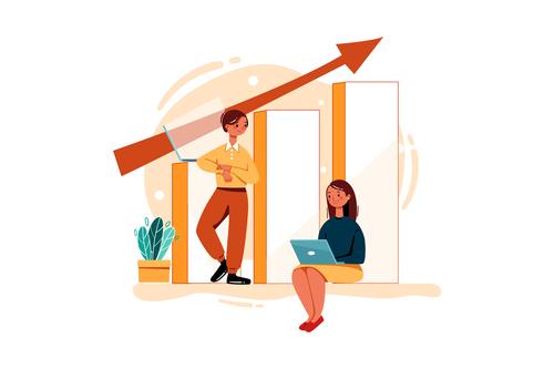 Strategic marketing report cartoon illustration vector