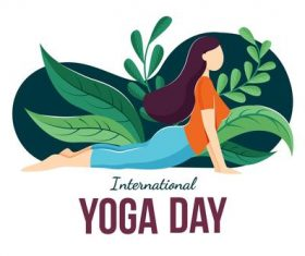 Stretching yoga pose cartoon illustration vector