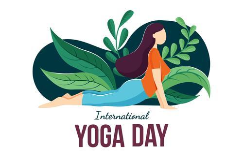 Stretching yoga pose cartoon illustration vector