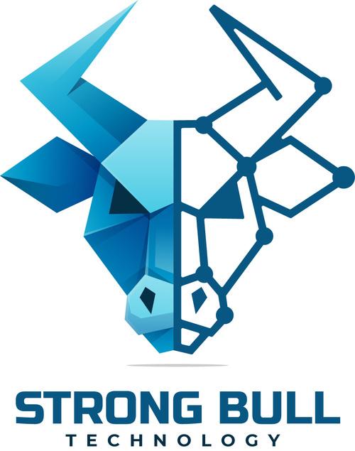 Strong bull gradient logo vector