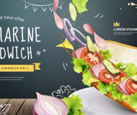 Submarine sandwich sandwich flyer vector